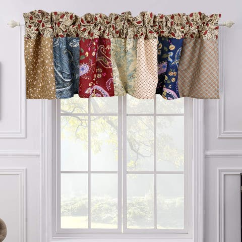 Sanders Floral Paisley Navy Patchwork Window Valance