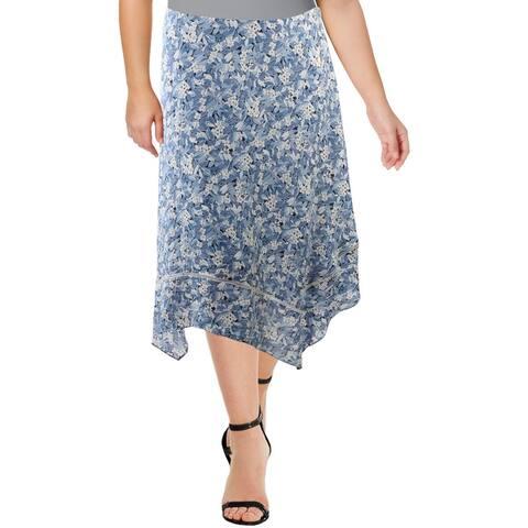 Lauren Ralph Lauren Womens Plus Skirt Floral Layered - White Multi