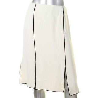 Lauren Ralph Lauren Womens Rheaninne A-Line Skirt Crepe Contrast Trim