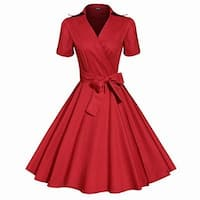 Acevog Red Womens Size Small S Vintage Swing Pleated Wrap Dress