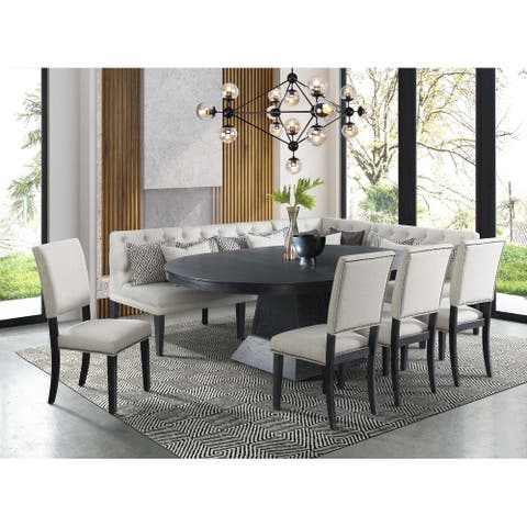 Picket House Furnishings Mara 8PC Oval Dining Set-Table, Four Side Chairs and Banquette Seating