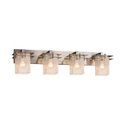 Justice Design Fusion Metropolis 4-Light Bath Bar, Seeded Square w/ Flat Rim Shade