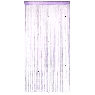 Window Door Polyester Tassel String Bead Curtain Light Purple 100 x 200cm