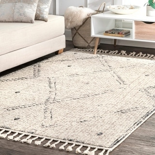 Link to nuLOOM Ivory Casual Aztec Geometric Moroccan Trellis Fancy Tassel Area Rug Similar Items in Transitional Rugs