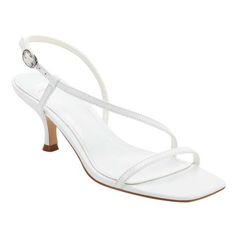 Marc Fisher Women's Gove Strappy Heeled Sandals, White Leather, 7