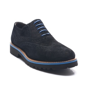 Bruno Magli Men's Leather Suede Malachi Lace-up Oxford Shoes Black Blue