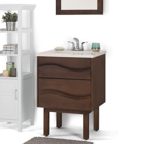 WYNDENHALL Brant 24 inch Contemporary Bath Vanity in Brown with Light Grey White Veined Engineered Marble Extra Thick Top