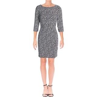 Lauren Ralph Lauren Womens Petites Drew-Soma Casual Dress Ruched Geometric Print