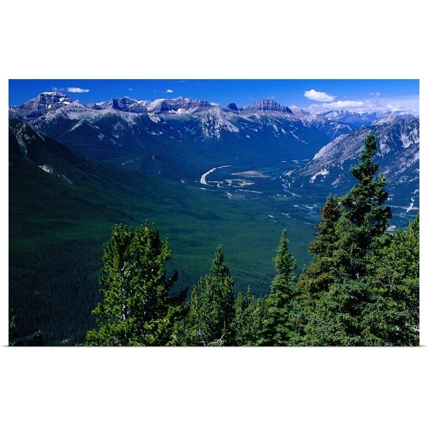 """View westwards to Trans Canada Highway from Sulphur Mountain, Canada"" Poster Print"
