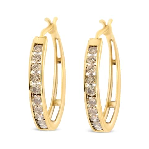 14K Yellow Gold Plated .925 Sterling Silver 1.0Cttw Channel Set Champagne Diamond Hoop Earrings with Snap Post (K-L, I1-I2)