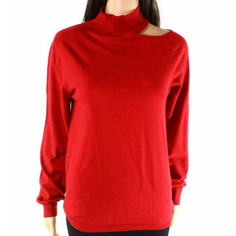 Democracy Deep Red Womens Size Large L Cutout Mock Neck Sweater
