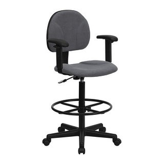 Offex Gray Fabric Ergonomic Drafting Stool with Arms - Adjustable Range 26''-30.5''H or 22.5''-27''H [OF-BT-659-GRY-ARMS-GG]