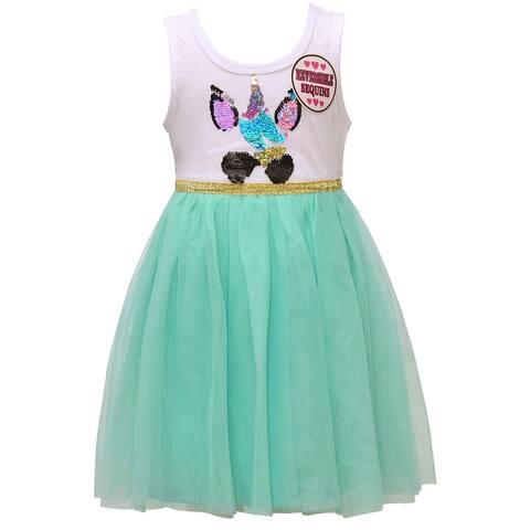 Little Girls White Light Green Tulle Reversible Sequin Easter Spring Dress
