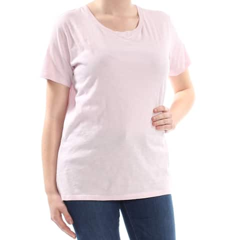 LEVI'S Womens Pink Heather Short Sleeve Scoop Neck T-Shirt Top Size: S