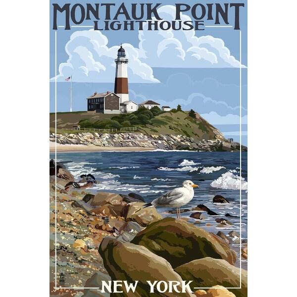 Montauk Point Lighthouse, NY - LP Artwork (Acrylic Wall Clock)