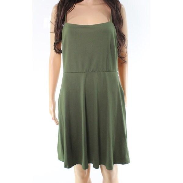 e7dfffdb8090f Socialite Olive Green Size Large L Junior Square-Neck A-Line Dress