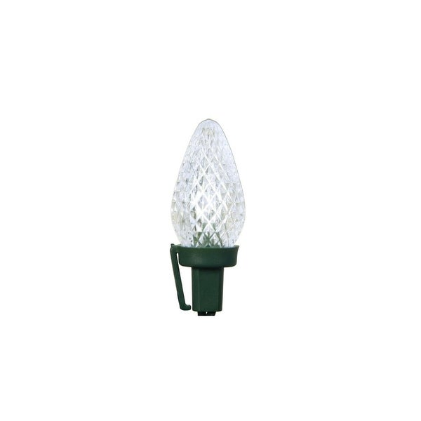 """Set of 100 Commercial Length Pure White LED Faceted C7 Christmas Lights on Spool 5"""" Spacing - Green Wire"""