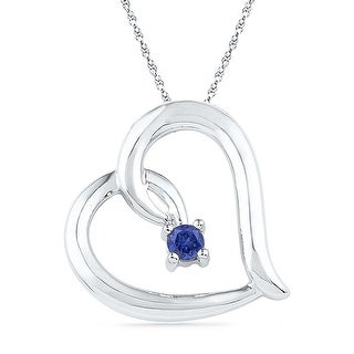 Heart Pendant 10K White-gold With Blue CZ and Diamonds 0.125 Ctw By MidwestJewellery - White