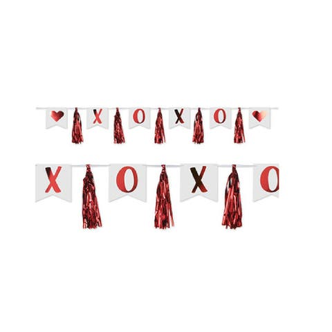 12 Piece White and Red Shinning Xoxo Tassel Streamer Banner 13""