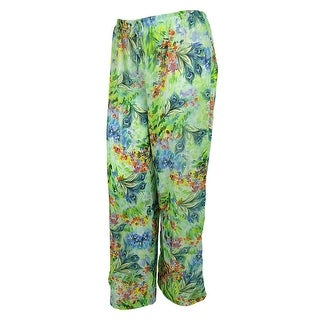 Longitude Women's Printed Chiffon Swim Cover Pants - multi