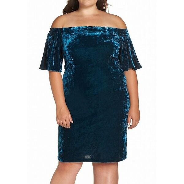 Eliza J Womens Plus Off-Shoulder Velvet Sheath Dress