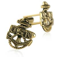 US Navy Anchor Cufflinks Gold Military