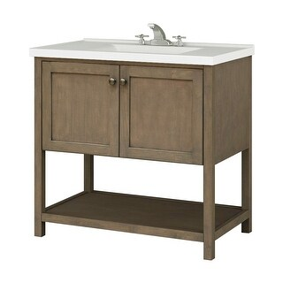 "Sunny Wood AN3621 Aiden 36"" Hardwood Vanity Cabinet Only - taupe"