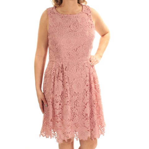 CECE Womens Pink Lace Sleeveless Jewel Neck Below The Knee Fit + Flare Dress Size: 8