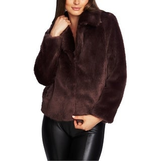 Link to 1.STATE Womens Faux Fur Jacket, red, Small Similar Items in Women's Outerwear