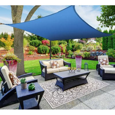 Boen Square Sun Shade Sail Canopy Awning UV Block for Outdoor Patio Garden and Backyard - Blue - 16'x16'