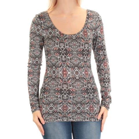 ULTRA FLIRT Womens Black Striped Long Sleeve Jewel Neck Top Size: S