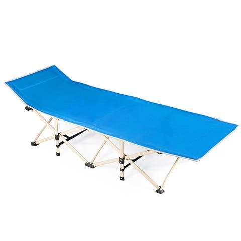 Foldable Camping Bed Portable Cot Bed w/Carrying Bag Outdoor Travel GreenBlue