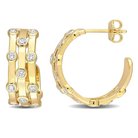 Eternally Yours 7/8ct TW Lab Created Diamond Hoop Earrings in 18k Yellow Gold Plated Sterling Silver