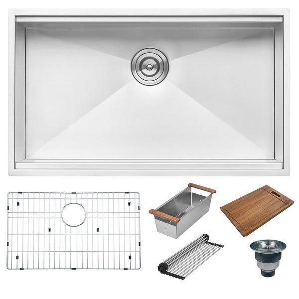 "Ruvati RVH8300 Roma 32"" Undermount Single Basin 16 Gauge Stainless Steel Workstation Kitchen Sink with Basin Rack, Colander,"