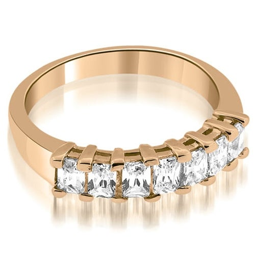 0.85 cttw. 14K Rose Gold Prong Set Emerald Cut Diamond Wedding Band
