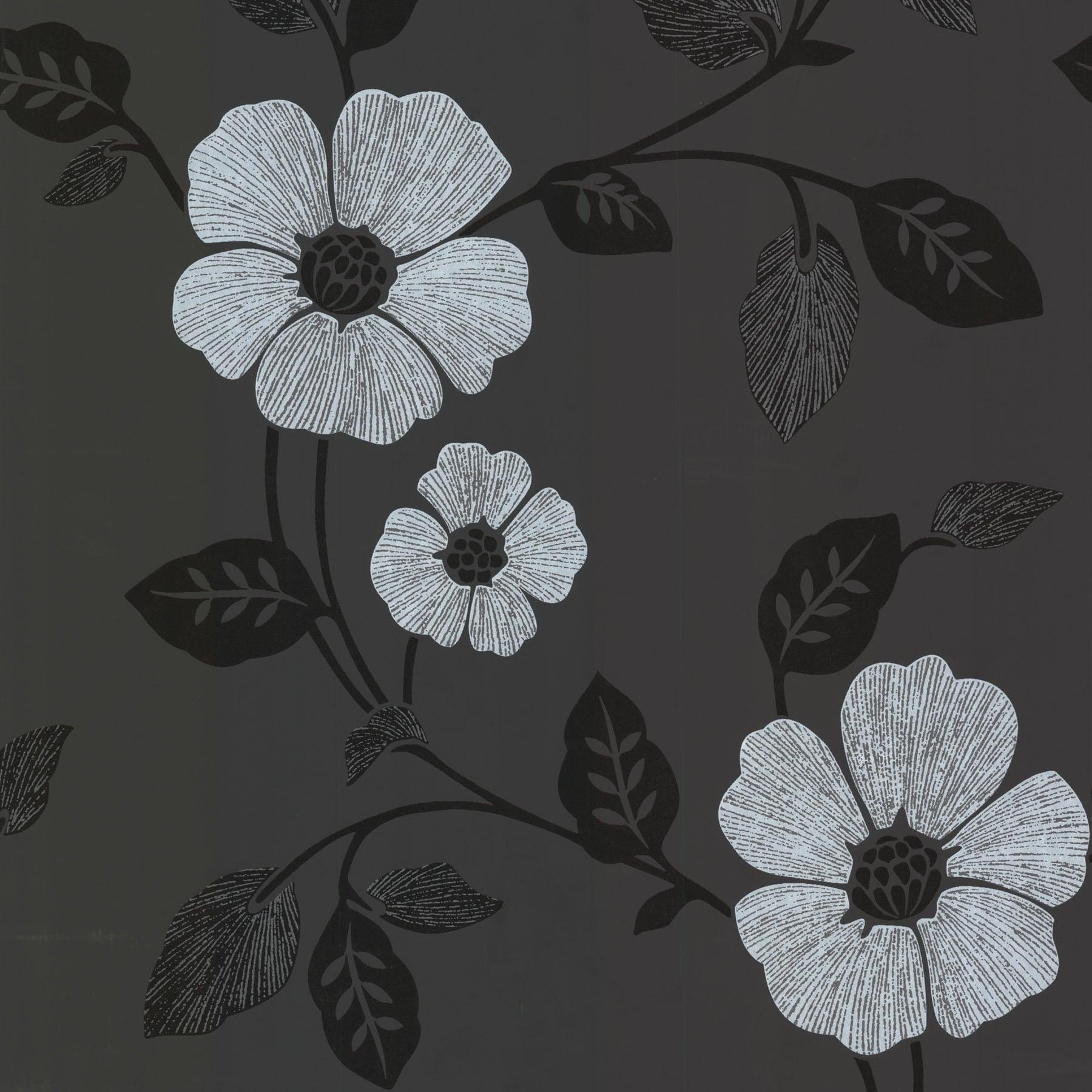 Shop Brewster 450 46962 Zync Black Modern Floral Wallpaper