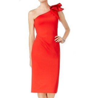 Betsy & Adam NEW Red Womens Size 10P Petite One-Shoulder Sheath Dress