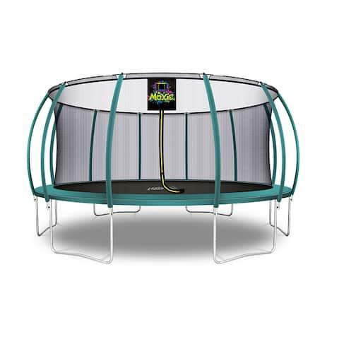 Moxie Pumpkin-Shaped Outdoor Trampoline, 16 FT - Dark Green - 16 FT