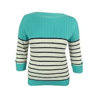 Karen Scott Women's Cable Knit Striped Sweater