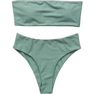 Link to OMKAGI Women's 2 Pieces Bandeau Bikini Swimsuits Off Shoulder High Waist Bath... Similar Items in Women's Surf & Swim Clothing