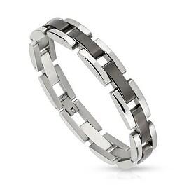 Rectangle Black IP Center Links Stainless Steel Bracelet (11 mm) - 8.5 in