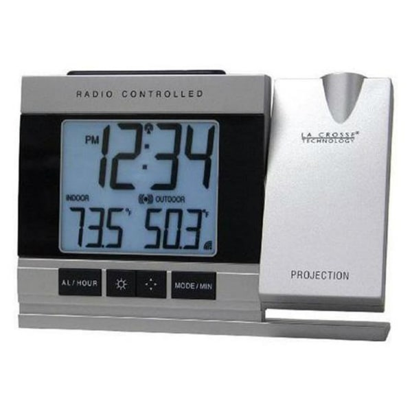 La Crosse Technology LCR5220UITCBPG Atomic Projection Alarm Clock with Indoor/Outdoor Temperature. Opens flyout.