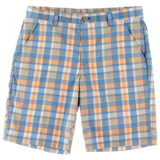 Izod Mens Flat Front Plaid Athletic Shorts - 34
