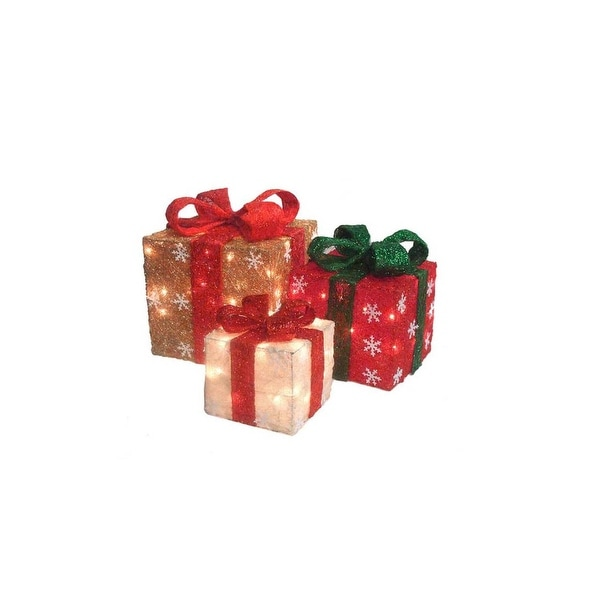 Set of 3 Lighted Gold, Green & Cream Sisal Gift Boxes Christmas Outdoor Decorations - RED