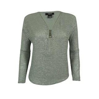 Alfani Women's Long Sleeve V-Neck Sweater Top - Metallic Silver