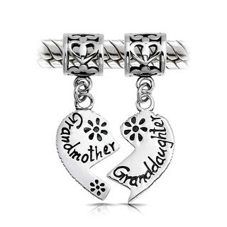 Bling Jewelry Grandma Granddaughter Heart Shaped Dangle Bead Charms Set .925 Sterling Silver