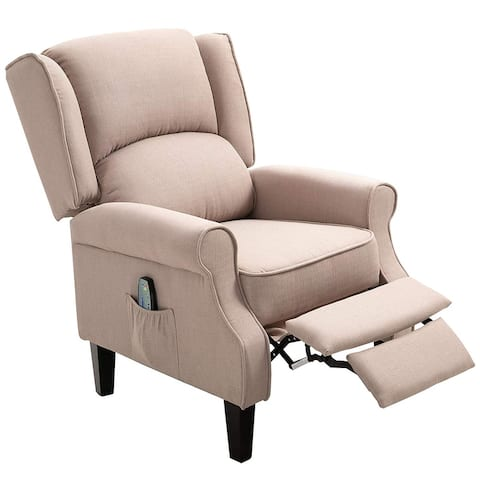 HOMCOM Massage Chair Heated Linen Fabric Recliner with Footrest Remote, Beige