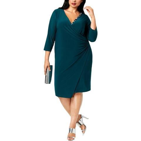 MSK Women Womens Plus Cocktail Dress Embellished 3/4 Sleeves