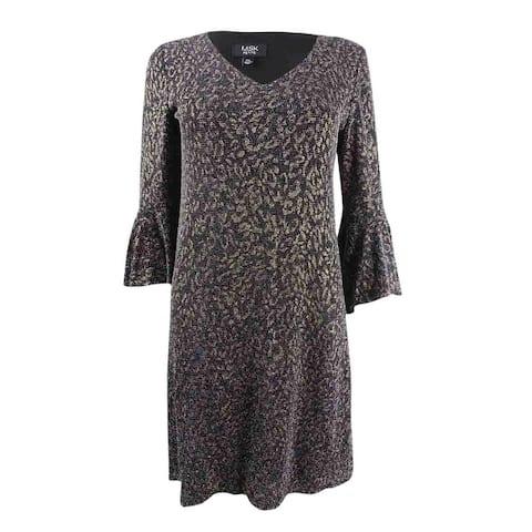 MSK Women's Petite Printed Metallic Bell-Sleeve Dress - Black/Gold