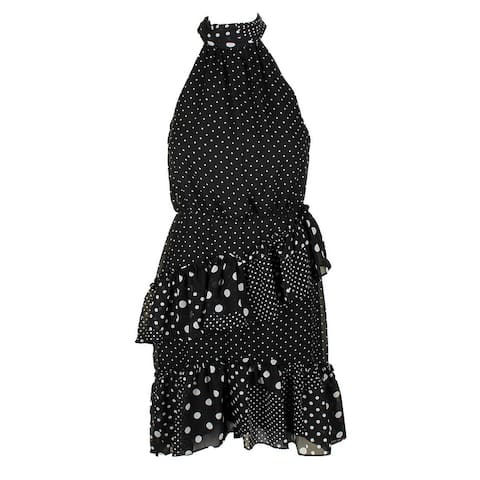 Betsey Johnson Black White Sleeveless Polka Dot Ruffled Halter Dress 2